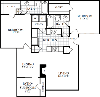 2 Bed / 2 Bath / 1,060 sq ft / Deposit: from $200 / Rent: $1,215