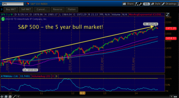 5 Year chart of the S&P 500 Index. Weekly bars - bull all the way!