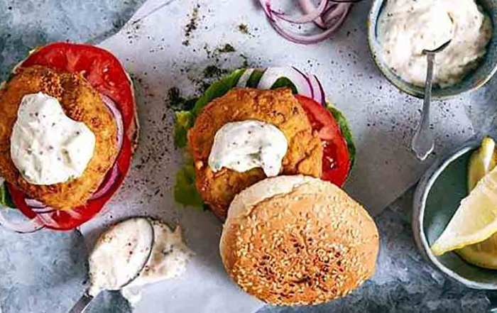fish burgers with herb mayo