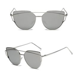Oversized Female Sunglasses - Mirrored - All Silver