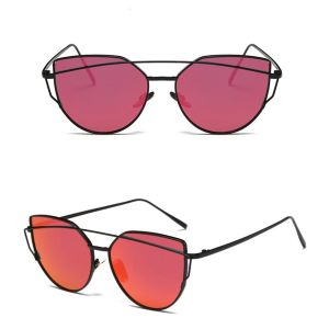 Oversized Female Sunglasses - Mirrored - All Silver Red Pink