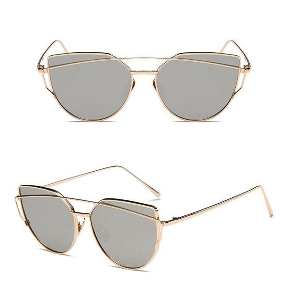 Oversized Female Sunglasses - Mirrored - All Silver gold