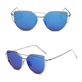 Oversized Female Sunglasses - Mirrored - All Silver blue gold