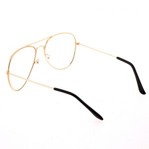 Retro Aviator Glasses - CLEAR LENS - Rose Gold