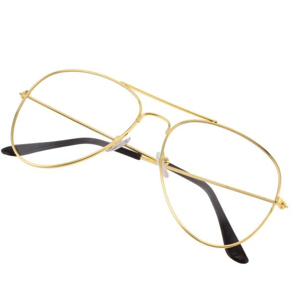 Retro Aviator Glasses - CLEAR LENS - Rose Gold black silver