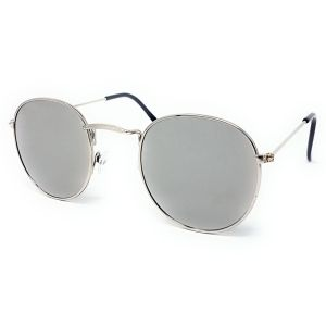 Round Retro Sunglasses - All Silver