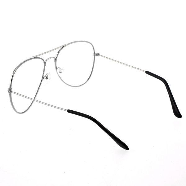 Retro Aviator Glasses - CLEAR LENS - Black SILVER GOLD