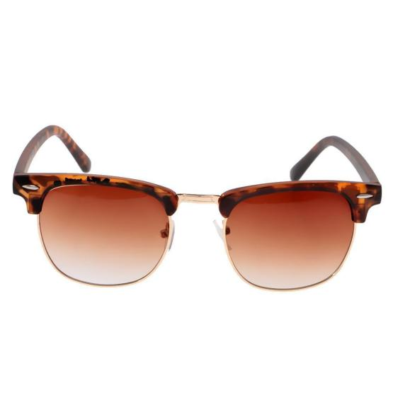 Classic Polarised Clubmasters - Half Frame Sunglasses - Tan - Gold Tint