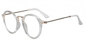 Round Retro Glasses - CLEAR LENS - White