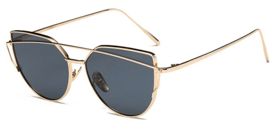 Oversized Female Sunglasses - Mirrored -gold grey
