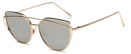 Oversized Female Sunglasses - Mirrored - silver gold