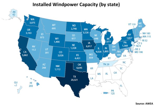 Installed Windpower Capacity By State