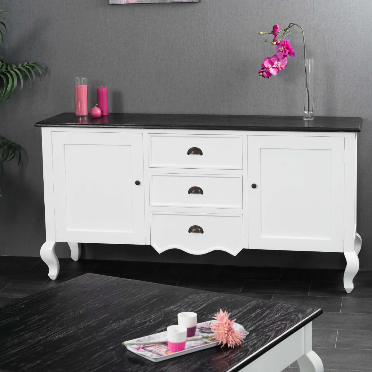Buffet de salon en bois dacajou et de pin massif  Idao rectangle blanc  naturel L  160 cm