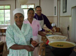 The kitchen team sets out lunch.