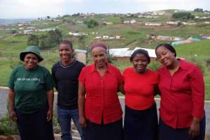 Jane Nxasana, left, with Woza Moya team members Gudane Mthembu (paralegal), Benedicta Ndlovu (co-manager), Dumile Mdladla (youth co-ordinator) and Star Ndlovu.