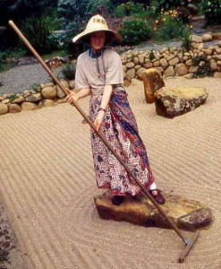 June Atkinson in the BRC zen garden.