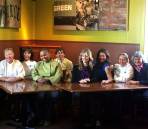 Wendy Brucker, Marsha McBride, Tanya Holland, Barbara Mulas, Rebekah Wood, Dona Savitsky, Maggie Pond, Cindy Lalime Krikorian at Brown Sugar Kitchen. Photo Wanda Hennig