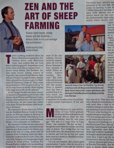 Looking back: Antony Osler interviewed at home in the Karoo in 1994, for the Sunday Times, South Africa.