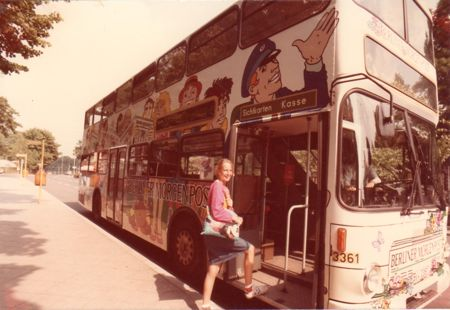 Boarding a bus in Berlin.