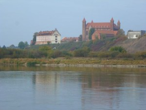 Vistula River view across to the old walled city.