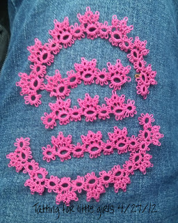Tatting for a denim dress on wandasknottythoughts.com