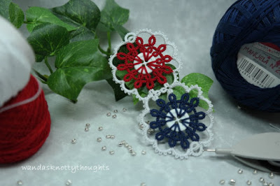 Tatted buttons of red, white, and blue on wandasknottythoughts.com