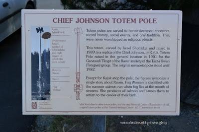 Chief Johnson Totem Pole sign Ketchikan, Alaska wandasknottythoughts.com