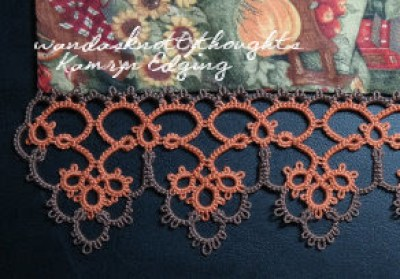 Kamryn Edging up close, tatted edging on table runner with fall material on wandasknottythoughts