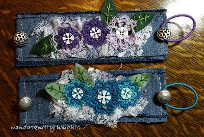 Tatted buttons on 2 denim cuffs in purples and blues @ wandasknottythoughts
