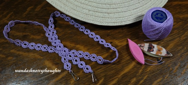 Tatted lanyard in DMC Cebelia size 10 Lavender on wandasknottythoughts