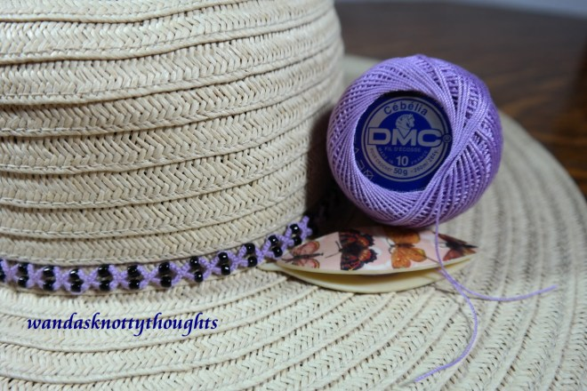 Tatted hatband instead of lanyard in DMC Cebelia size 10 on wandasknottythoughts
