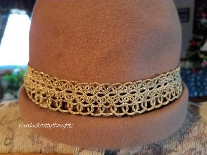 Old tatted hatband in Kreinik thread on wandasknottythoughts