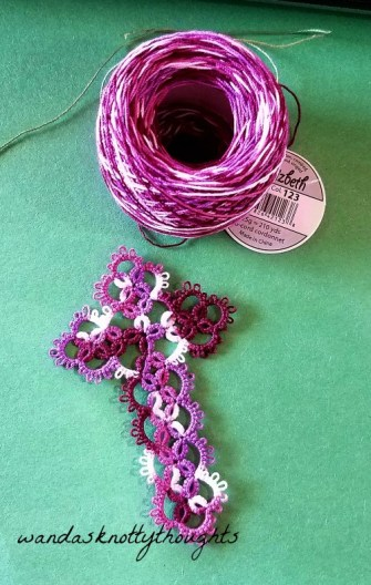 Tatted cross in Grape Pizzaz size 20 Lizbeth on wandasknottythoughts