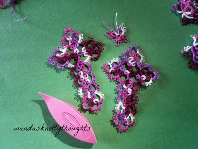 Two tatted crosses in Grape Pizzaz size 20 Lizbeth thread on wandasknottythoughts
