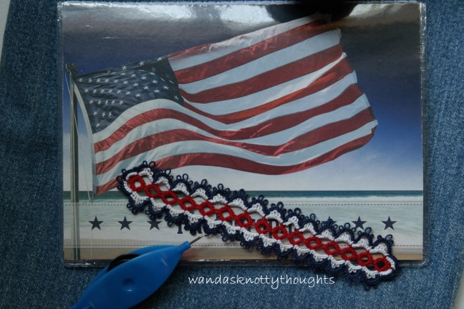 Flag Day tatted bookmark on wandasknottythoughts