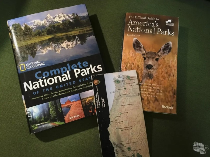 National parks books and maps help us plan our road trip.