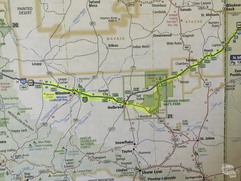 Map of our route in northern Arizona following part of old Route 66.