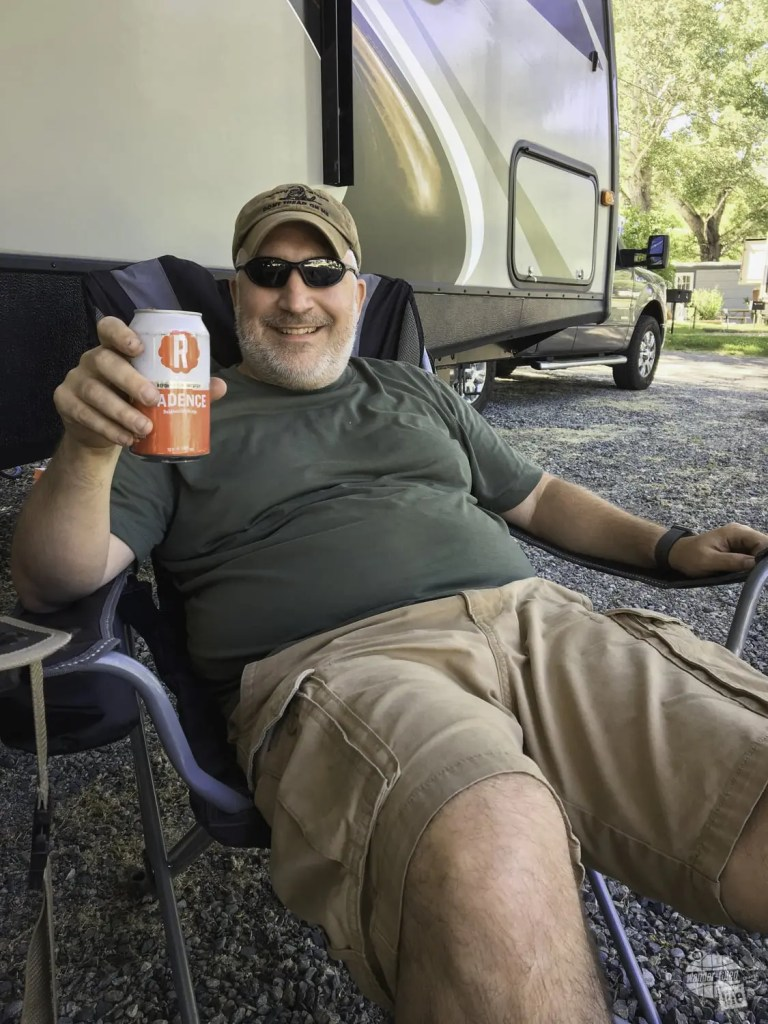 Grant enjoying a beer