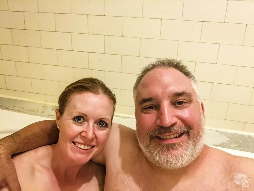 Enjoying at soak in the mineral waters at Hot Springs NP.