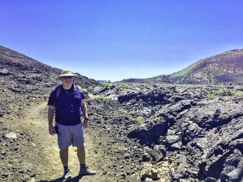Grant on the trail in Craters of the Moon National Monument