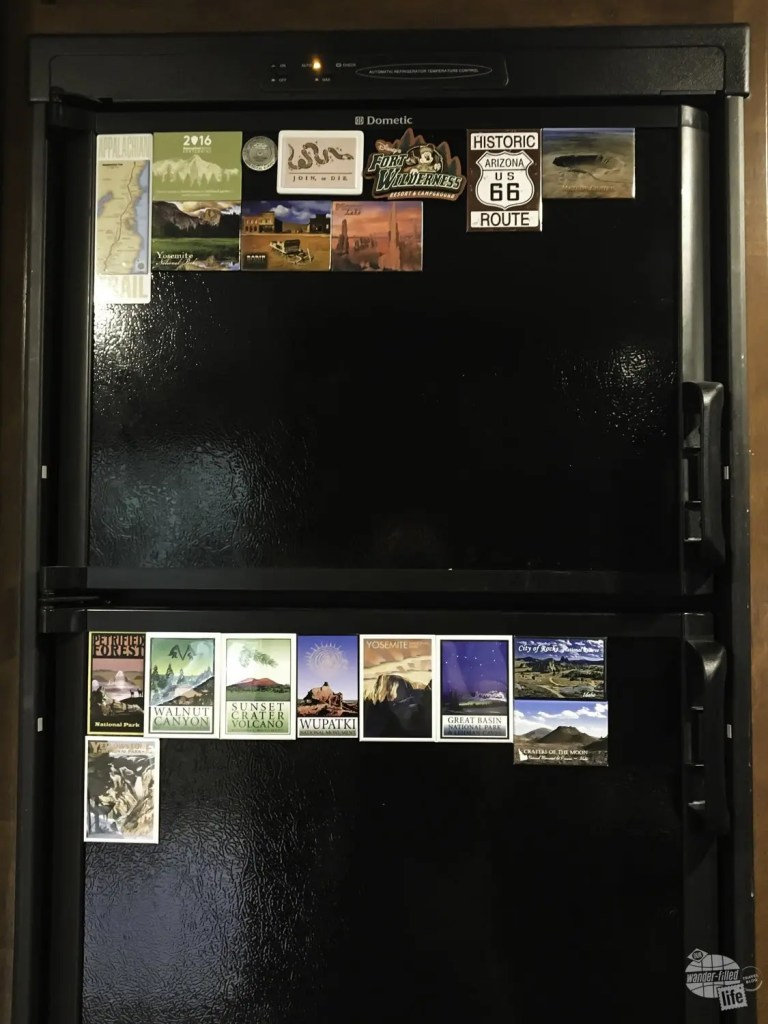Souvenir magnets from Yellowstone and other stops on our vacation.