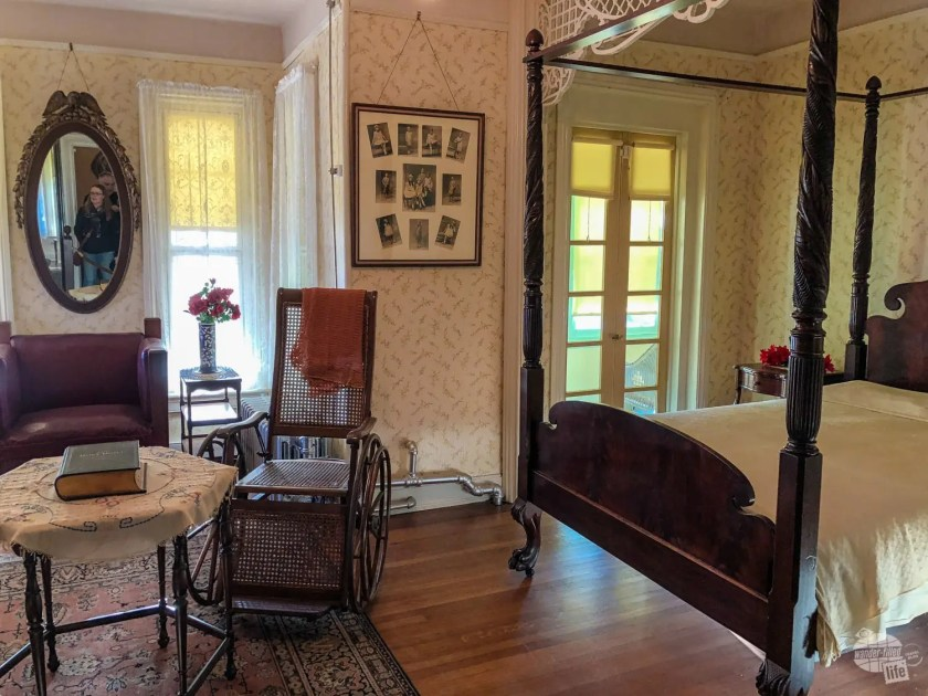 Walker's bedroom, including the wheelchair she used after diabetes crippled her.