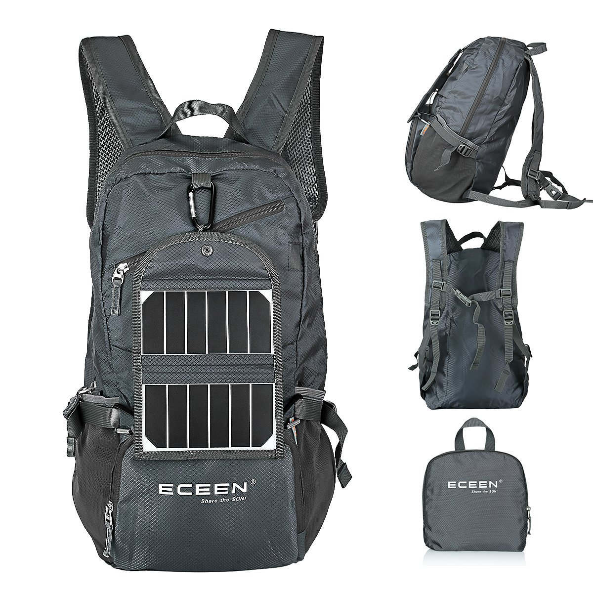 ECEEN Hiking Daypack with Solar Panel and Battery - WanderGoGo