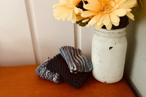 knitted dishcloth sitting on desktop