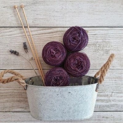basket of purple yarn and lavender