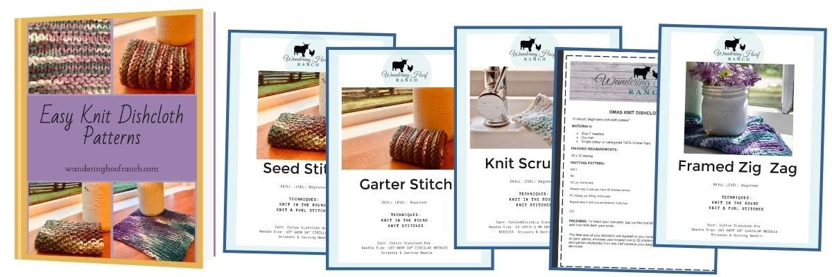 Easy knit dishcloth pattern collection mock up image