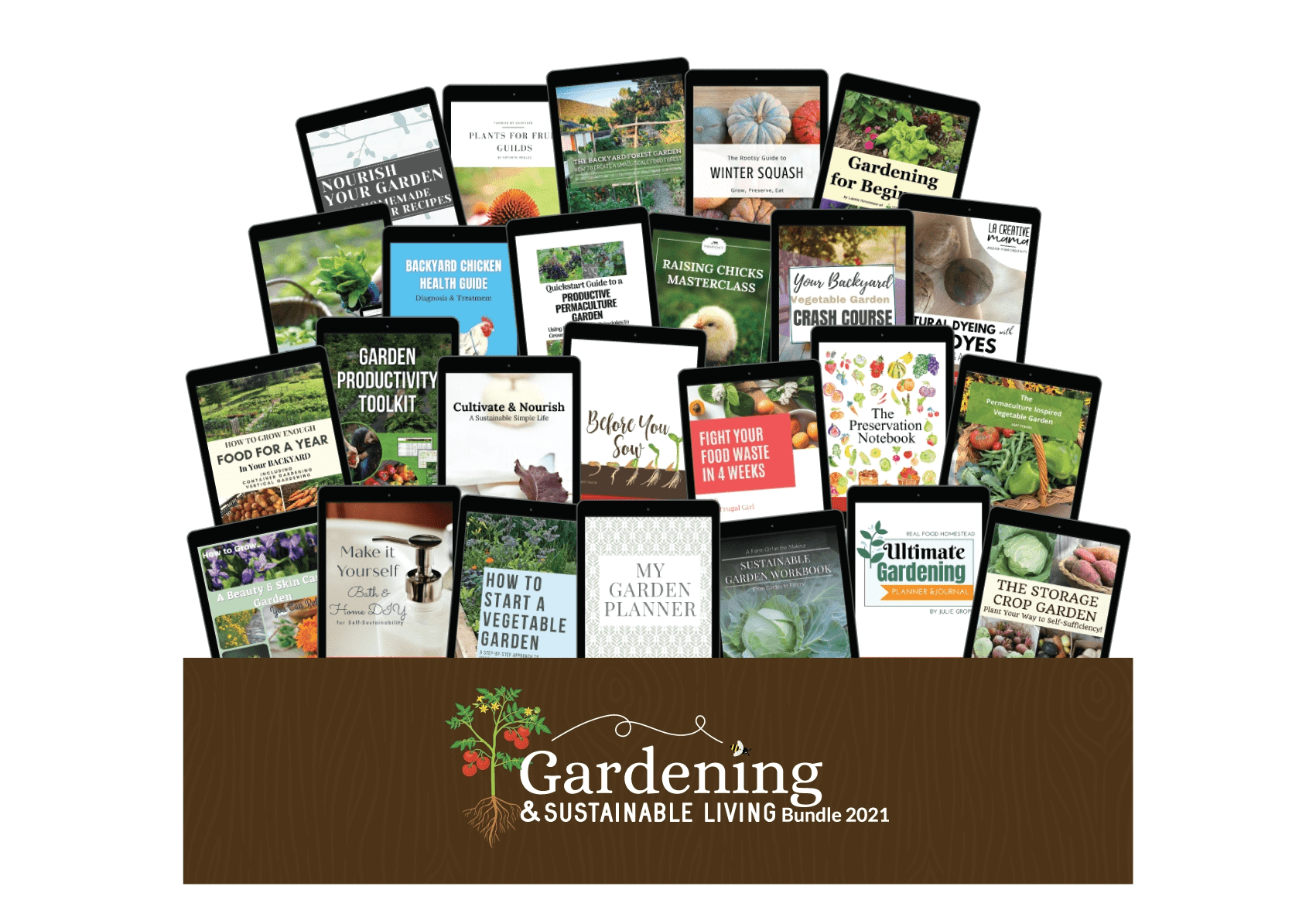 gardening and sustainable living mock up image of the bundle of ebooks, courses, printables and planners