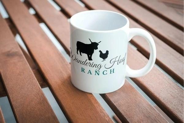 farm mug personalized with farm name, wandering hoof ranch
