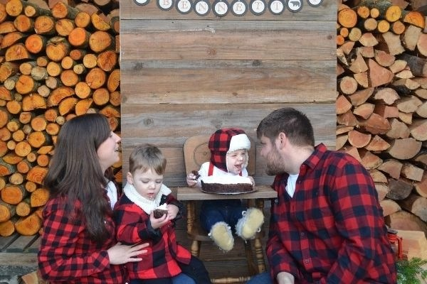 celebrating a young farmers birthday at wandering hoof ranch family all in plaid