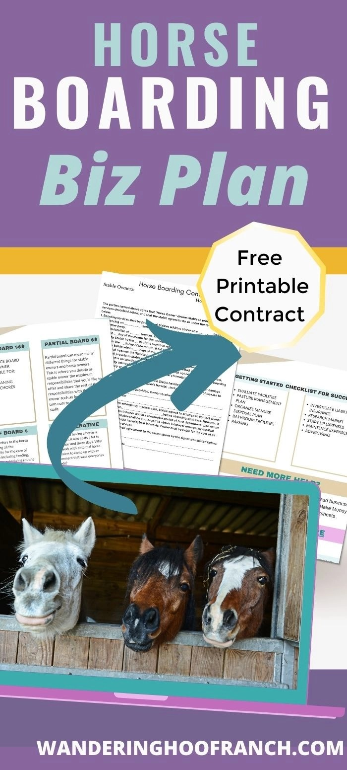 free printable contract images for the horse boarding business plan post and pin image
